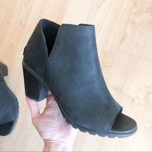 Sorel Nadia Black Open Toe Boots
